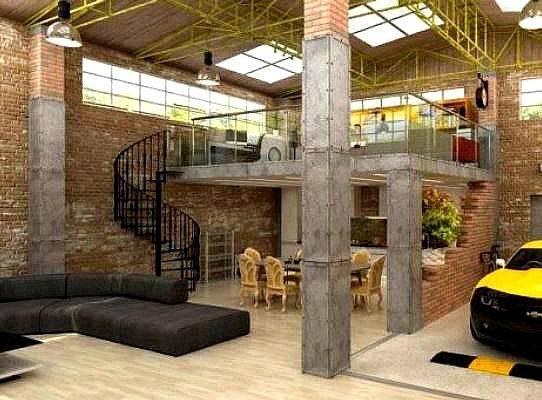 Urban Industrial Loft Apartment Garage Https - House Plans ...