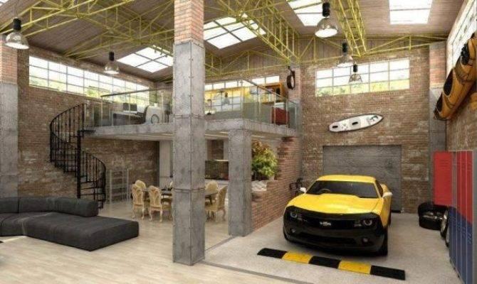 Urban Industrial Loft Apartment Garage Media Cache