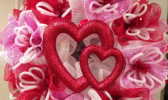 Valentine Day Wreath Poly Mesh
