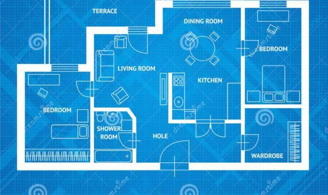 Vector Plan Blue Print Flat Design