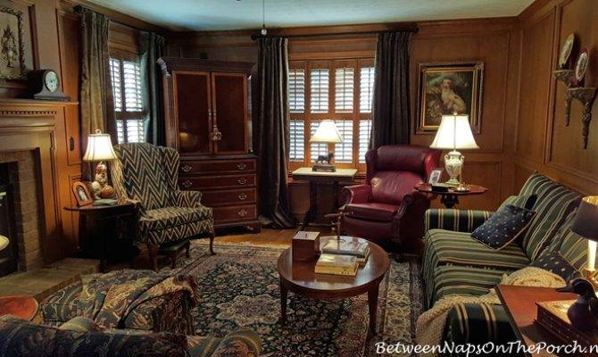 Velvet Drapes Paneled English Country Style Living Room