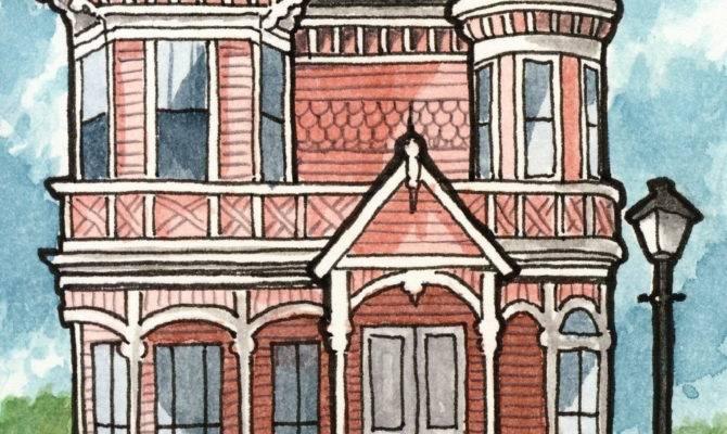 Victorian Houses Three Print Set Geneploss Etsy