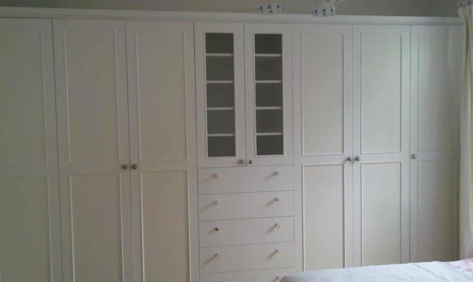 Wall Wardrobe White Painted Doors European Closet Cabinet