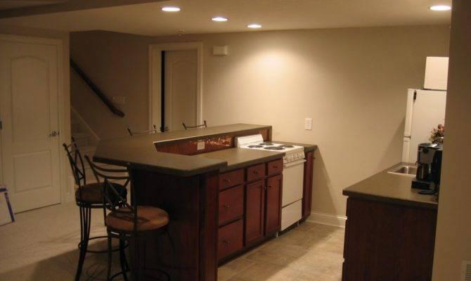 Warm Beige Home Basement Bar Interior Designs