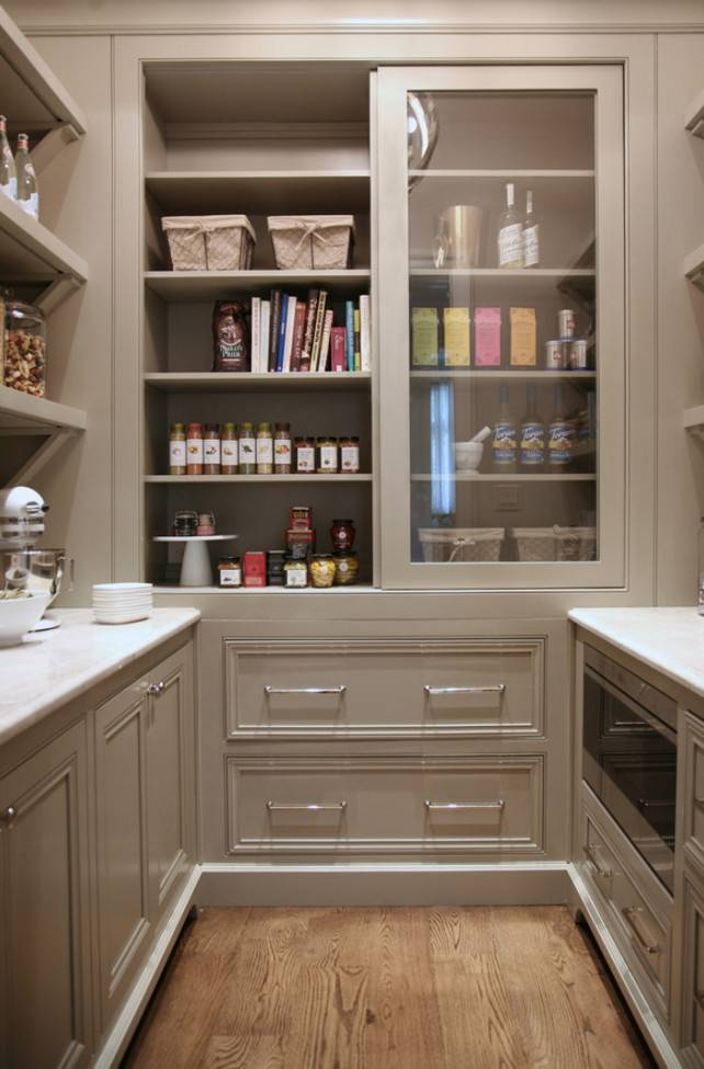 Warm White Kitchen Design Gray Butler Pantry Home