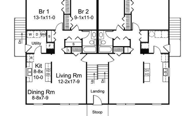 Wayland Split Level Fourplex Plan House Plans