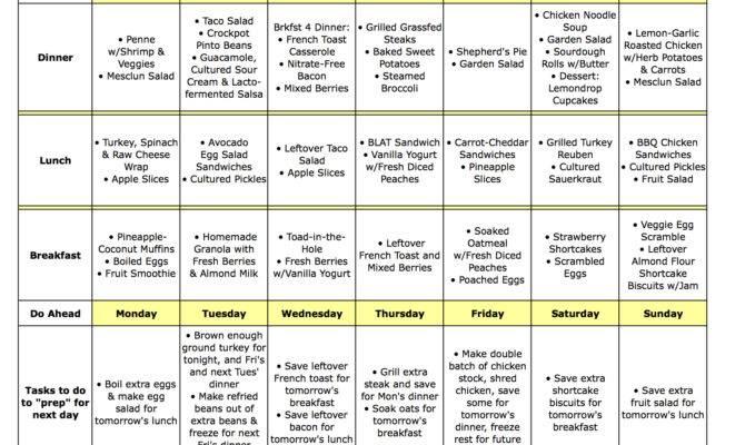 Weekly Menu Planner Template Calendar