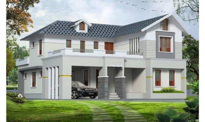 Western Style Exterior House Design Kerala