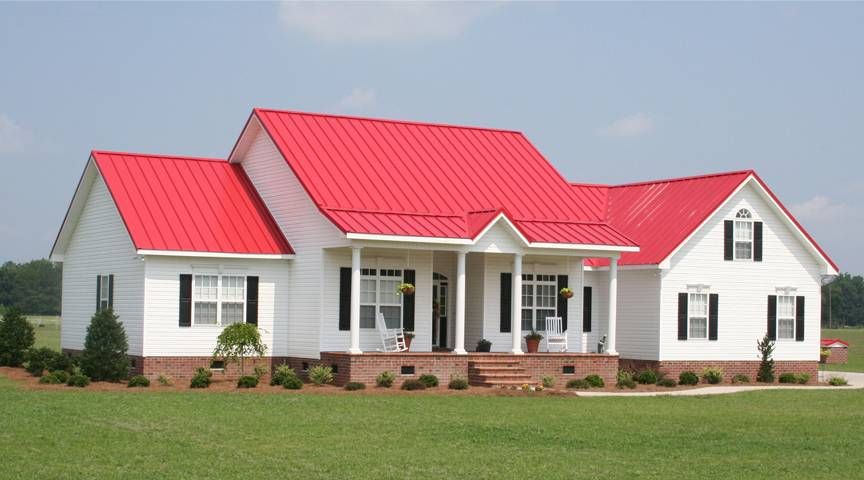 White House Grey Metal Roof House Plans 58871