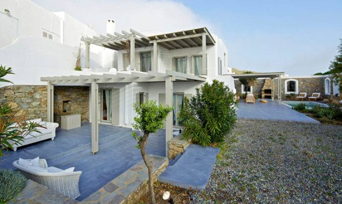 White Modern House Design Mykonos Island Greece