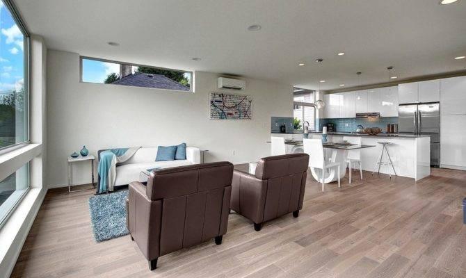 White Washed Hardwood Floors Dining Room Modern