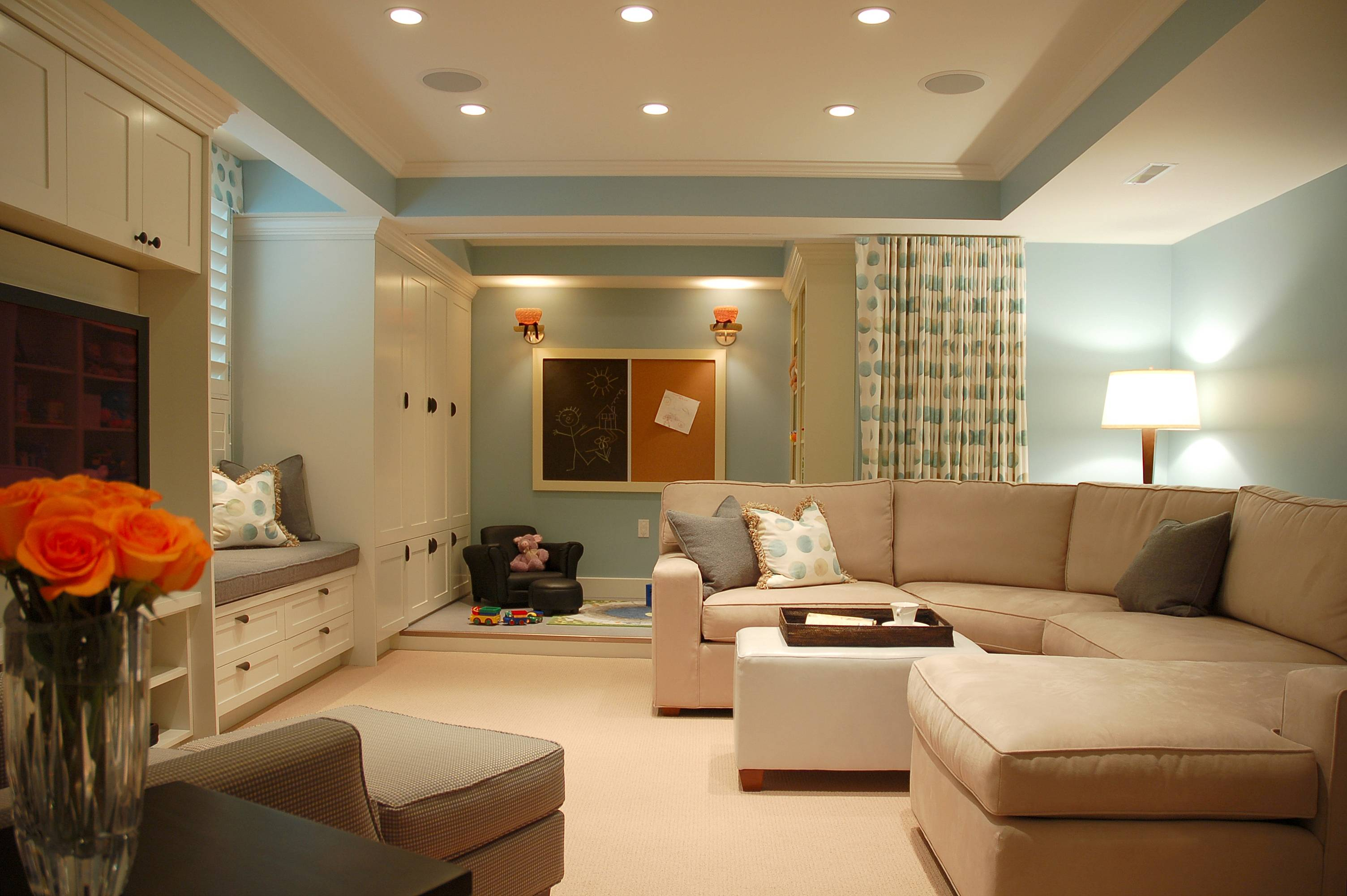 Window Seat Rectangle Living Room Great Layout Ideas - House Plans