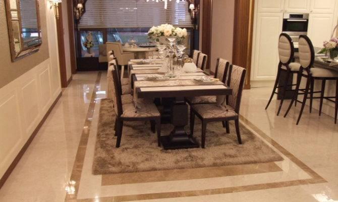 Wood Tile Dining Room Flooring Comfortable