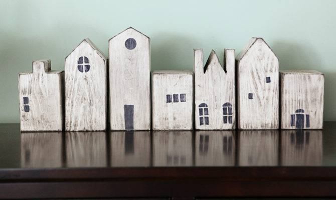 Wooden Blocks Shaped Buildings Stained White Painted