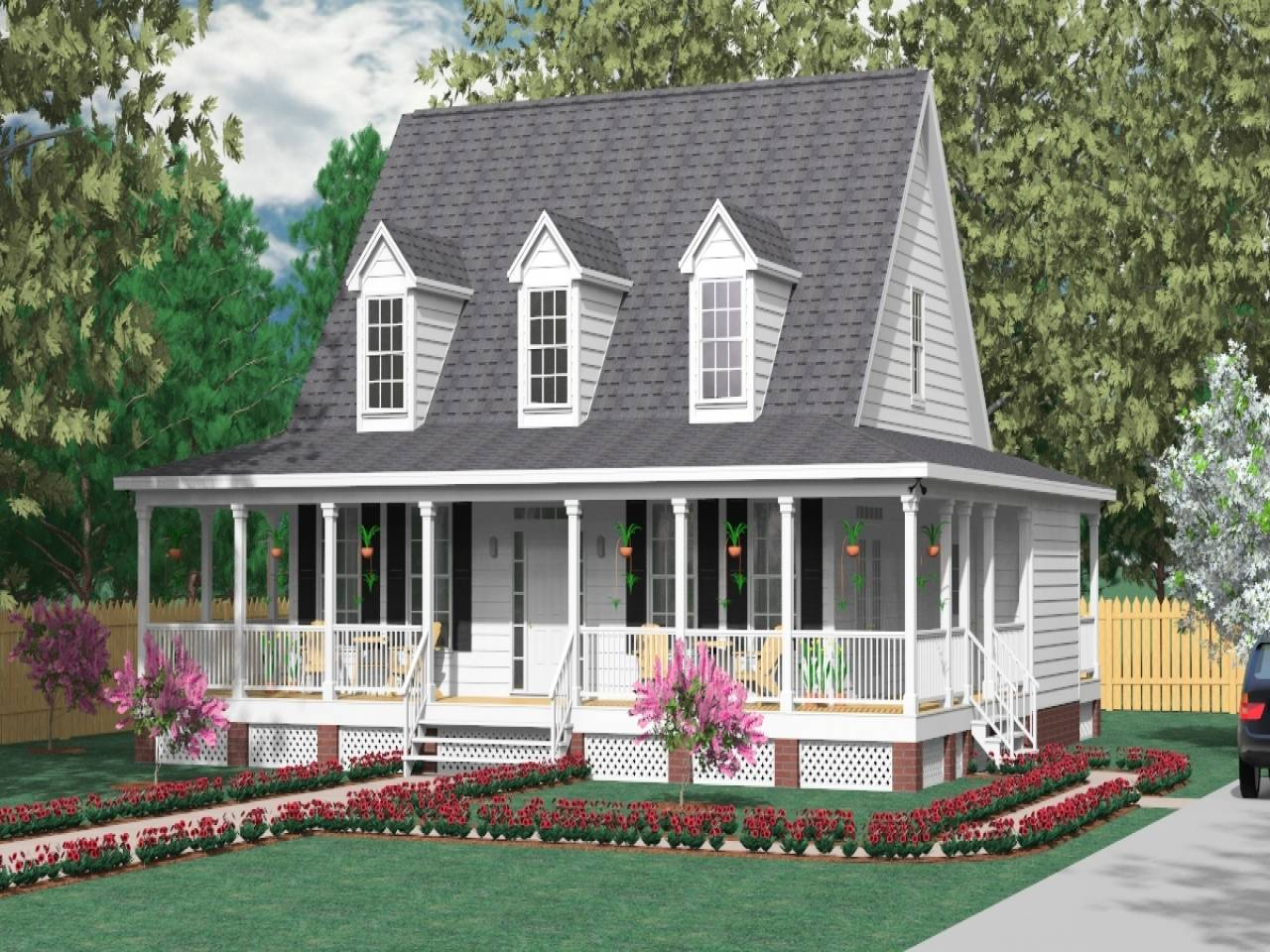 Wrap Around Porch House Plans Modern Small - House Plans | #144589